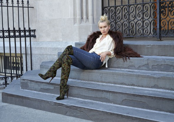 Fashion model and blogger Alexandra Spencer - Cameron Silver for Nine West Camo Boots