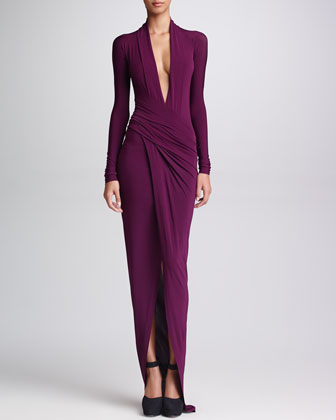 Donna Karan Draped Plunging-Neck Dress in Amethyst