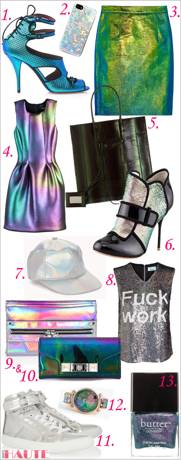 Trend alert: Holographic fashion and accessories shopping guide - TABITHA SIMMONS Bailey hologram high-heel sandals, Nasty Gal Hologram iPhone 5 Case, Milly Edith holographic reptile-effect leather skirt, Cynthia Rowley Women's Bonded Seam Waist Dress, Balenciaga Papier Ledger Serpent Hologram, Sophia Webster Amis Holographic Mermaid Bootie, Forever 21 Futuristic Holographic Baseball Cap, ASHISH F*ck Work Holographic Sequin Tank, Milly Demi Hologram Leather Clutch, Proenza Schouler PS 11 Continental Hologram Wallet, Pierre Hardy Holographic leather sneakers, jewelmint Starry Deep Ring, butter LONDON Nail Lacquer, Knackered