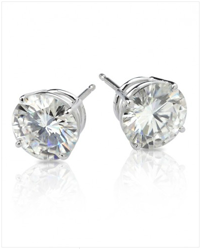 Win these Moissanite Darling 2ctw Round Stud Earrings in White Gold