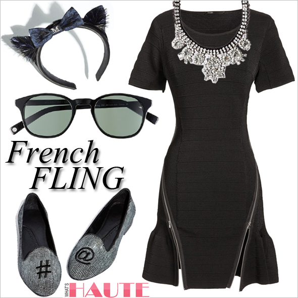 Nordstrom French Fling Pop-in Shop, maje 'Deca' Short Sleeve Ottoman Knit Dress, Warby Parker 'Downing' 48mm Sunglasses, Maison Michel 'Lae' Cat Ears Headband, Chatelles 'Albert Custom' Loafer, Venessa Arizaga 'Marseille' Necklace