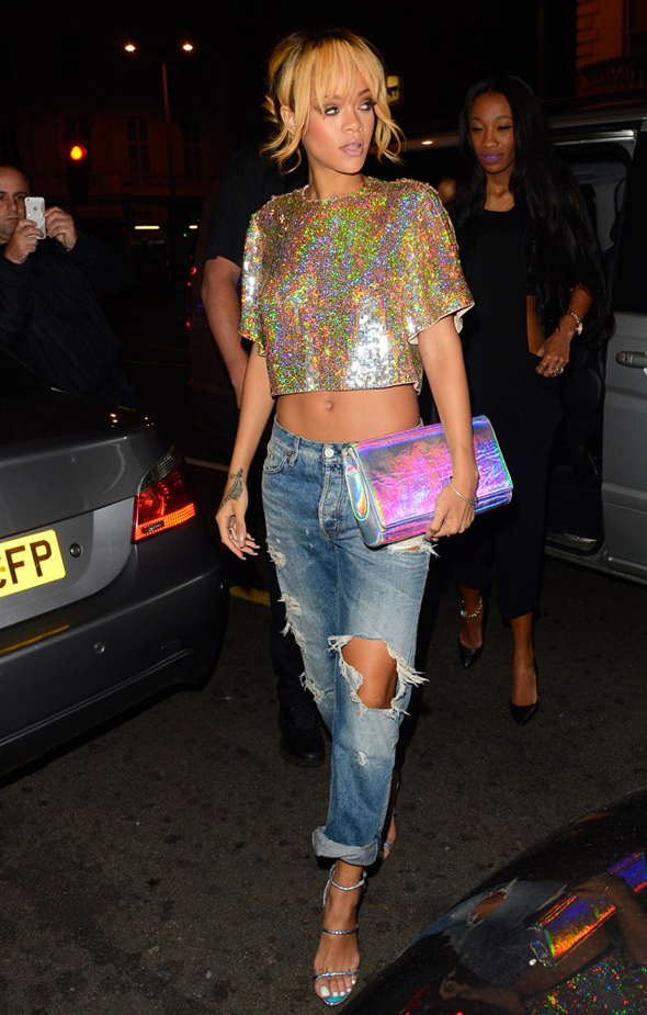 Rihanna in Stella McCartney holographic fashion and accessories