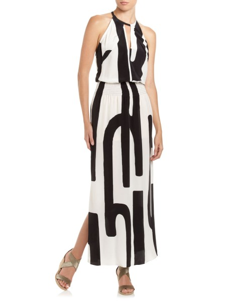 Haute buy: Tracy Reese Silk Halter Maxi Dress, Black White