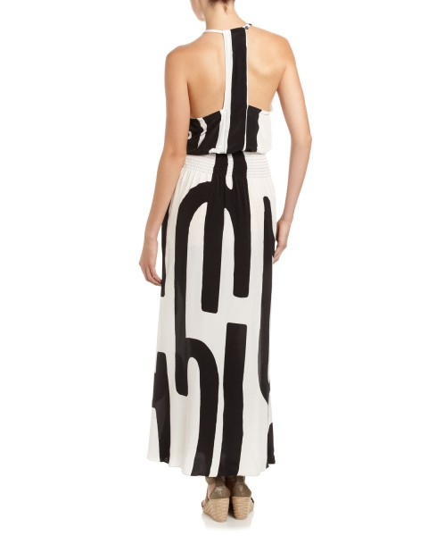 Haute buy: Tracy Reese Silk Halter Maxi Dress, Black White back