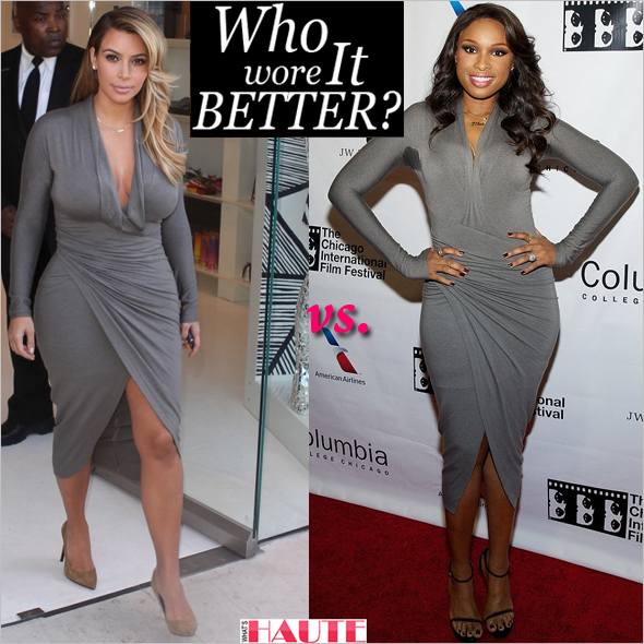 Who Wore it Better: Kim Kardashian or Jennifer Hudson in a Donna Karan Draped Plunging-Neck Dress