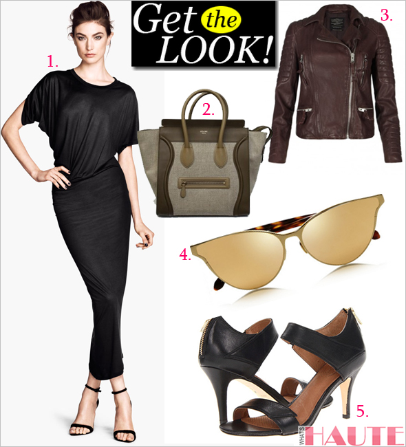 Get the look: Oxblood: H&M Draped Dress, AllSaints Oxblood Leather Biker Jacket, Céline Luggage Tote, Corso Como Delilah Sandals, Linda Farrow Cat eye gold-plated and tortoiseshell sunglasses