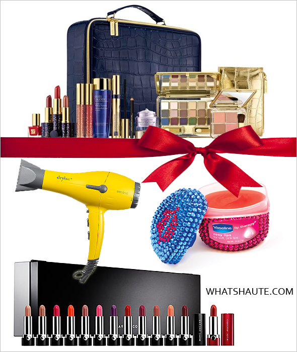 Holiday gifts for the beauty lover - Estée Lauder Holiday 2013 Purchase with Purchase, DRYBAR Buttercup Blow Dryer, Vaseline® Lip Therapy® Rosy Lips, MARC JACOBS BEAUTY Lovemarc Collection