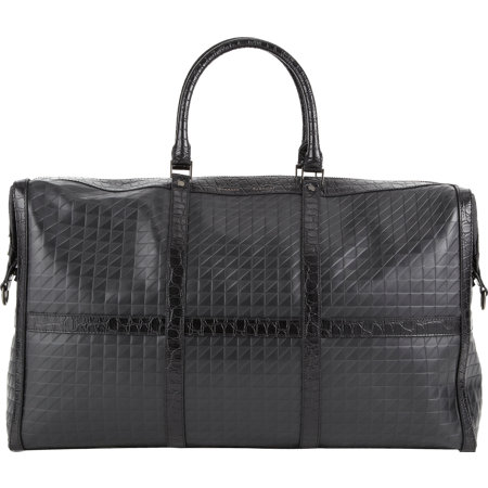 BNY SCC A New York Holiday - Proenza Schouler Crocodile-Trim Stamped Leather Duffel Bag