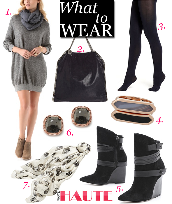 What to Wear on Thanksgiving: Monica Vinader Baja set of two rose gold-plated rings, Alexander McQueen Skull-print silk-chiffon scarf, Stella McCartney Falabella Fold-Over Bag, Hanes Silk Reflections Blackout Opaque Control Top Tights, HATCH The Sweatshirt Dress, Charcoal Rose Gold Cushion Studs - clip on, alice + olivia Owen Suede Wedge Boots