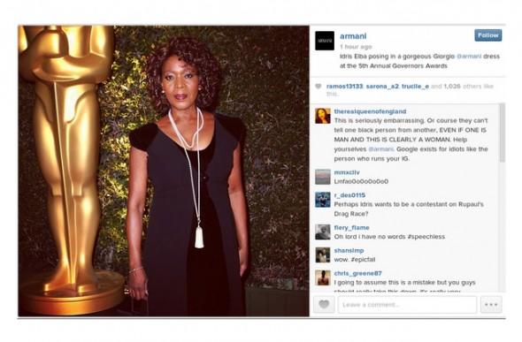 Armani Instagram Alfre Woodard Idris Elba