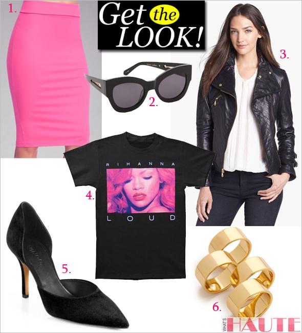 Get the look: Rihanna LOUD Tour T-shirt, Karen Walker Northern Light Sunglasses, Gorjana Camila Ring Set, Vince Celeste Suede d'Orsay Pump, DKNY Asymmetrical Leather Moto Jacket, Bebe Solid Midi Skirt