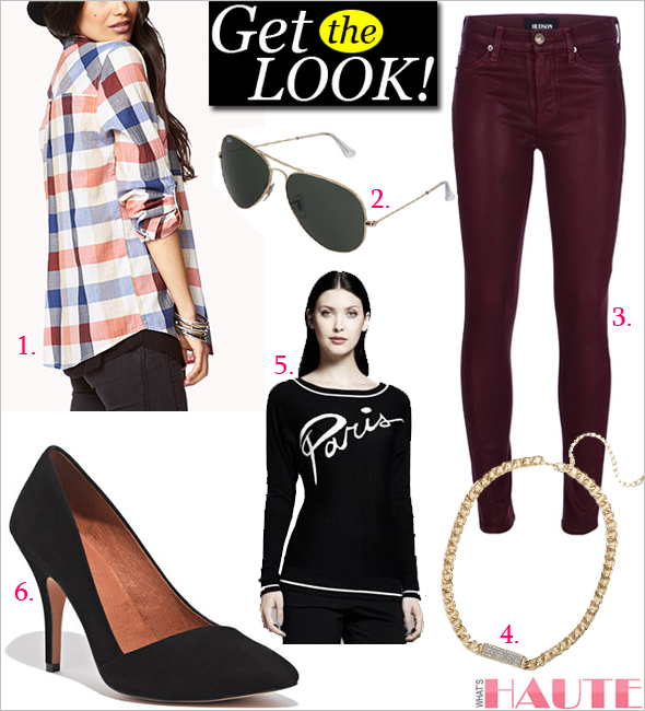 "Get the look: Forever 21 Fresh Plaid Shirt, Ray-Ban 3025 Aviator 62mm, Hudson Women's Juliette Zipper Skinny Jean in Bordeaux, BaubleBar Gold Pave ID Necklace, Catherine Malandrino for DesigNation ""Paris"" Sweater, Madewell The Mira Heel"