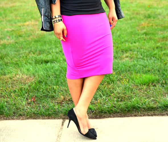 My style: Bagatelle leather moto jacket | Rihanna LOUD Tour T-shirt | bebe Solid Midi Skirt | Lanvin for H&M men's sunglasses | Zara suede D'Orsay pumps | ASOS gold band rings | Baublebar & Gorjana Griffin bracelets | RiRi Hearts MAC lipstick in Heaux