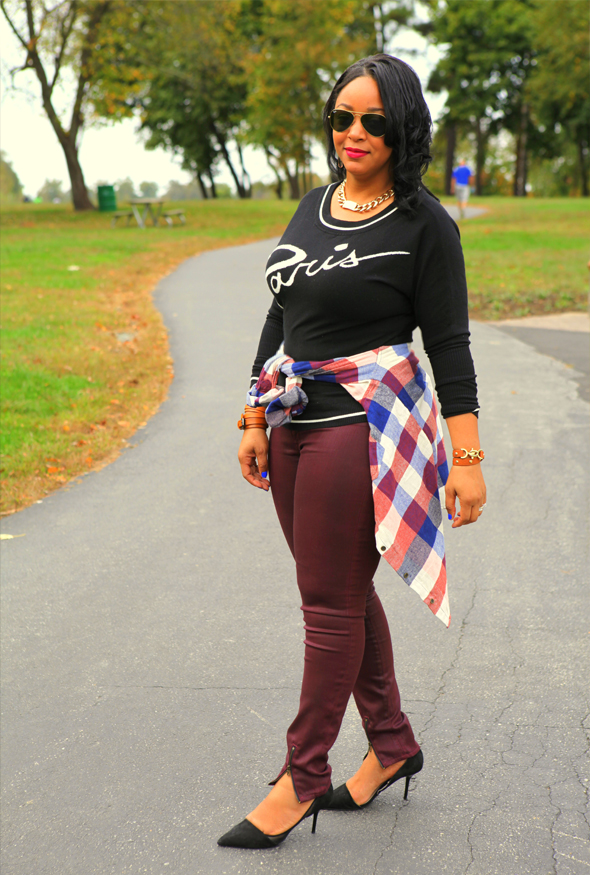 "My style: Paris is always a good idea: BaubleBar Gold ID Necklace | Ray-Ban Aviator sunglasses | Catherine Malandrino for DesigNation ""Paris"" Sweater 