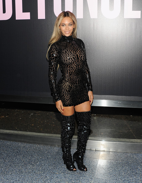 7b5e4f2fac2 What She Wore  Beyonce in Tom Ford Spring Summer 2014 black mosaic mini  dress and matching thigh high boots