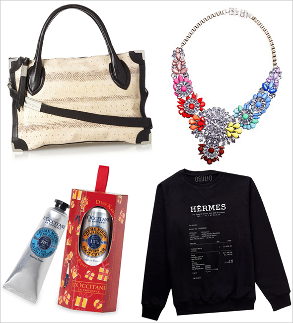 Avoid the mall with these Cyber Monday sales! Foley + Corinna Framed Satchel, Roccia Watersnake, Hermes Receipt Pullover, Glamorous Bouquet Necklace in Multi, L'OCCITANE SHEA BUTTER TRAVEL TREATS