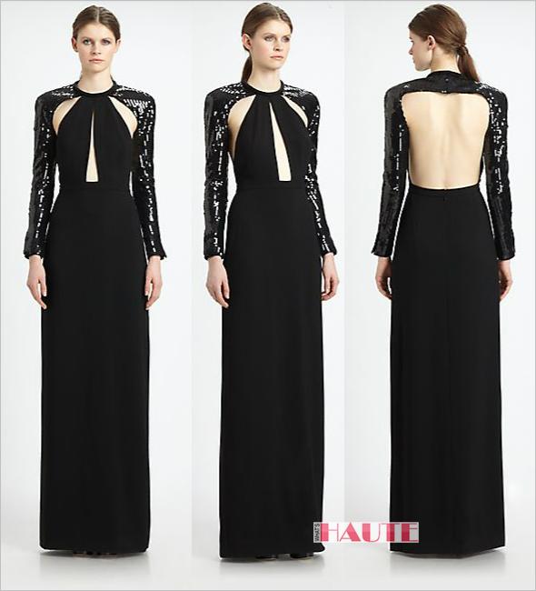 Saint Laurent Sequined Cutout Bolero Gown