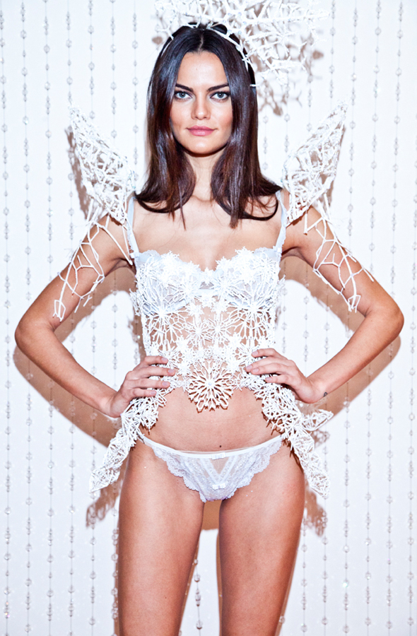 Angel Barbara Fialho in a Swarovski 3-D printed costume from the 2013 Victoria's Secret Fashion Show