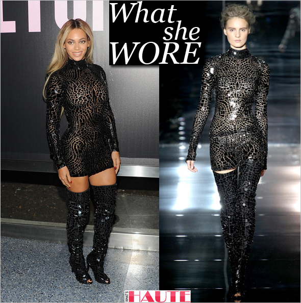 d9e5fe838df What She Wore  Beyonce in Tom Ford Spring Summer 2014 black mosaic mini  dress