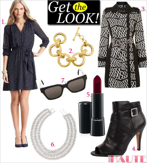Get the look: LOFT Tall Cosmic Dot Print Sheer Sleeve Tie Waist Dress, Vince Camuto Kina booties, Izabel London Monochrome Squiggle Trench, MAC 'Mineralize' Rich Lipstick in All Out Gorgeous, Super America (Black) sunglasses, alice + olivia Rhinestone Round Collar Necklace, Julie Vos Geneva bracelet