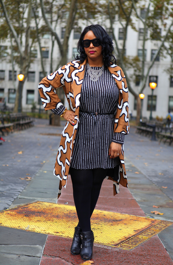 My style: Stars and squiggles: Diane von Furstenberg squiggle print trench coat | H&M star print dress | Vince Camuto Della Peep-Toe Booties | Forever 21 necklace | Julie Vos Geneva bracelet (c/o) | Lanvin for H&M men's sunglasses | RiRi Hearts MAC Heaux Lipstick