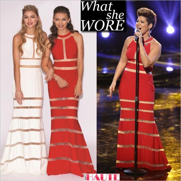 What she wore: Tessanne Chin in Jovani Fashions 78284 red sheer band gown