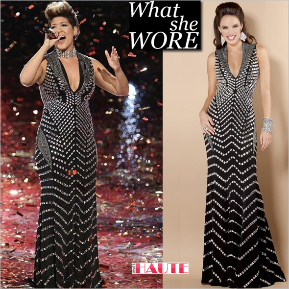 What she wore: Tessanne Chin in Jovani Prom Dress 6433 black halter gown with silver beading
