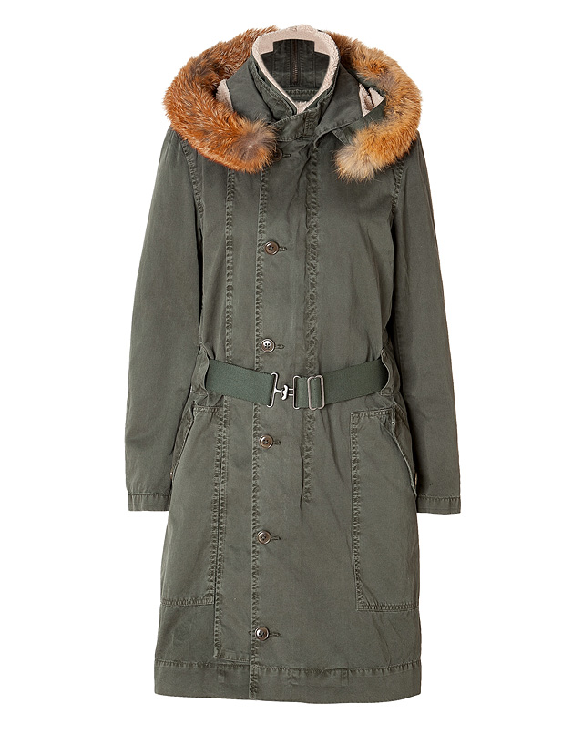Who wore this Ermanno Scervino Army Green Fur Hooded ...