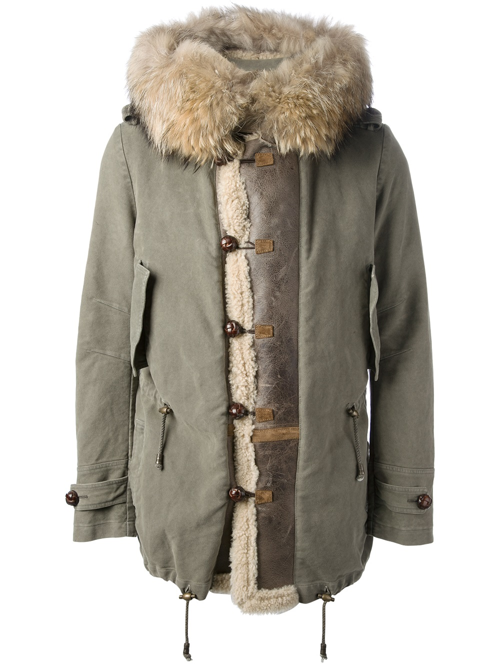 The Ermanno Scervino Army Green Fur Hooded jacket appears to be sold out,  but guys can get the look with these options: Foce Shearling Lined Parka: