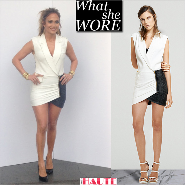 What She Wore Jennifer Lopez In Self Portrait Tuxedo Wrap Dress From The Spring