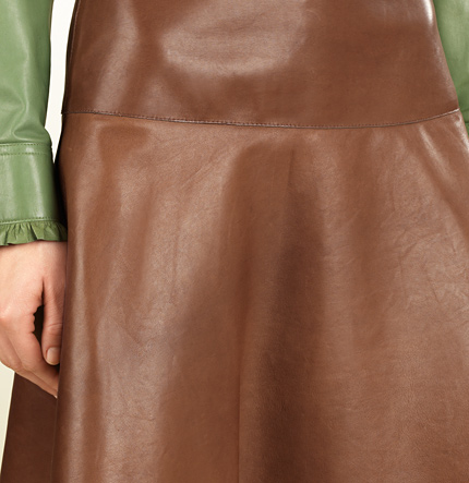 79dfb5548 Gucci brown leather skirt closeup. Blake Lively in Gucci leather ruffle  shirt ...