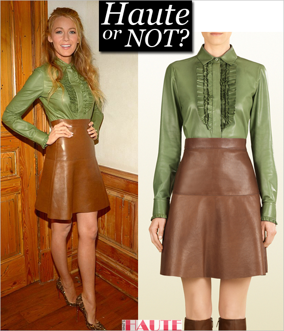 677fe00f0 Blake Lively in Gucci leather ruffle shirt and skirt: Haute or Not ...