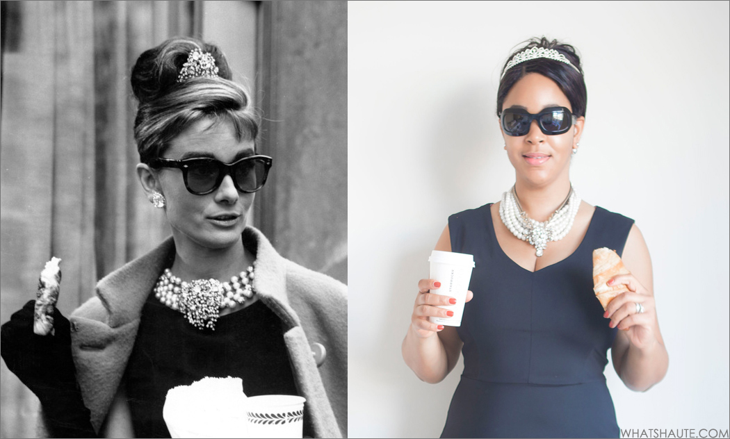 Earrings, Audrey Hepburn Breakfast at Tiffany's, Black with Pearls, Rhinestone