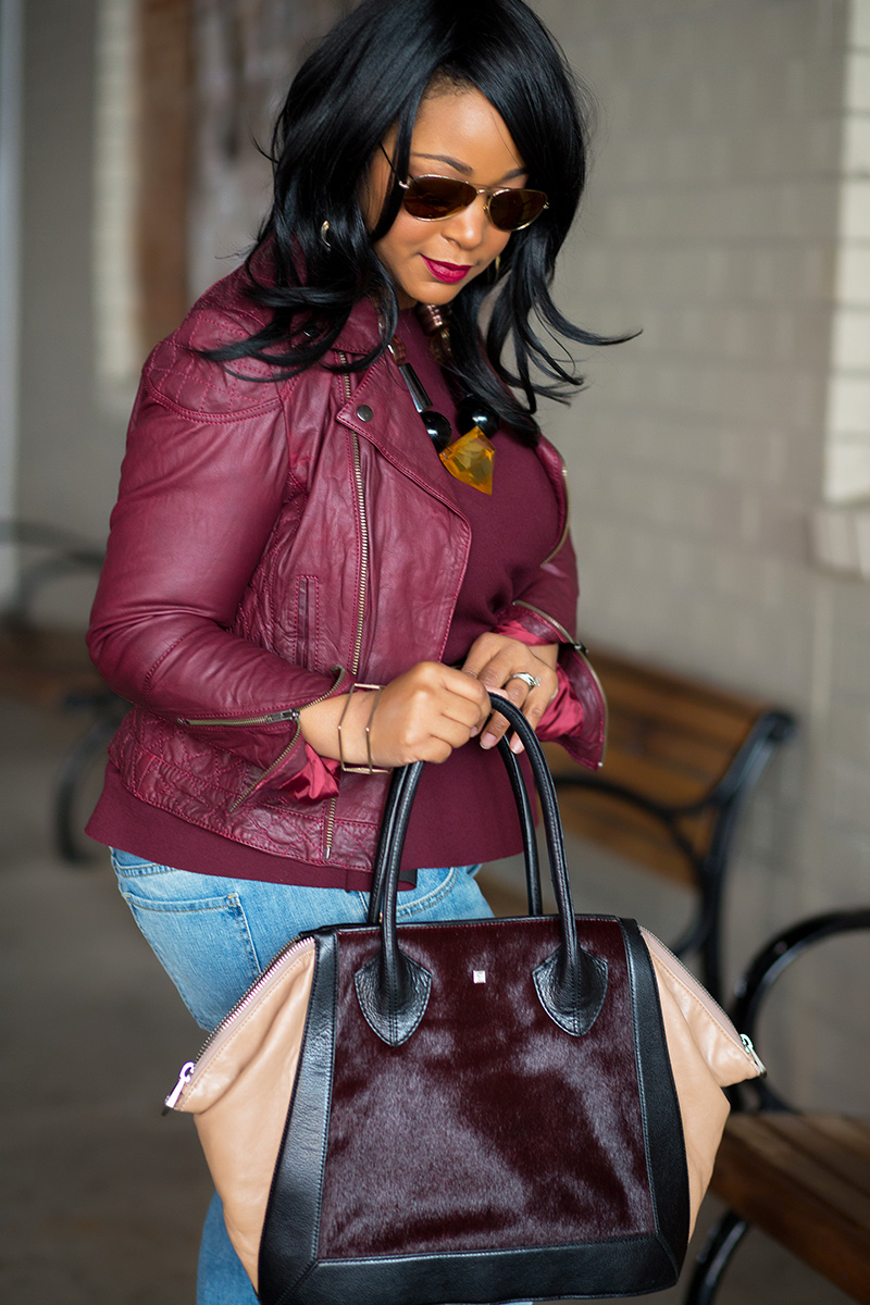 My Style Me And Boyfriend Jeans Asos Burgundy Leather Jacket