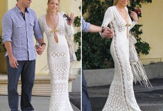Haute or not: LeAnn Rimes in a crocheted Pucci wedding reception gown with matching bag