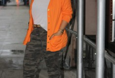 My Style: Orange Crush (Ralph Lauren cardigan + London Jean camo pants + Kelsi Dagger boots)