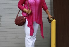 My Style: Mother's Day weekend (Magenta Sharkbite tunic top + Zara white jeans + See by Chloe bag)