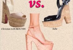 Shoe Wars: Christian Louboutin 'Super Dombasle' vs. Steve Madden 'Shazzam' vs. bebe 'Leah' cork wedge platform sandals