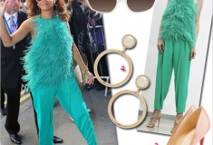 """Get her haute look: Rihanna's shag-alicious turquoise Antonio Berardi look at the London launch of """"Reb'l Fleur"""" at House of Fraser"""
