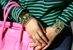 My style: Pops of pink (J. Crew striped popover blouse + Hudson jeans + Celine Leather Luggage Tote in neon pink)