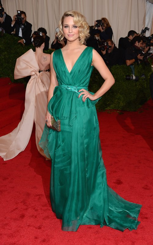 MET Gala 2012 Dianna Agron in green gown