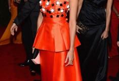 MET Gala 2012 Eva Mendes in orange peplum gown