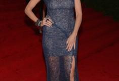 MET Gala 2012 Heidi Klum in blue lace dress