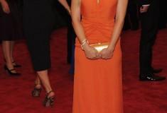 MET Gala 2012 Kristen Bell in orange gown