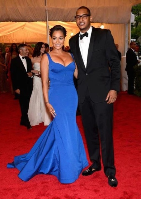 MET Gala 2012 Lala in Zac Posen with Carmelo Anthony