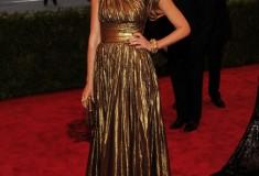 MET Gala Jessica Alba metallic bronze Michael Kors