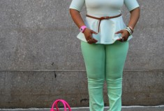 My style: Mint + pink (H&M peplum top + BDG jeans + fluro pink Celine Luggage Tote)