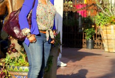 My Style: Florals in Old Town (D&G floral blouse + Lush blazer + Seven7 jeans + BCBG studded pumps)