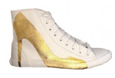 Haute buy: Be&D Bright Lights Big City Sneakers – Hand Gilded Artist Edition By Trong Nguyen