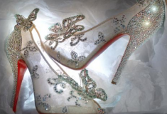 Haute fashion news roundup: Christian Louboutin creates 'glass slipper' for Disney; Katie Holmes covers Elle; Ivanka Trump's launches sunglass line; Adidas Originals x Opening Ceremony + a gown made of 5,000 Gummy Bears
